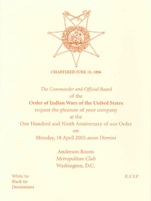 Reflections order of the indian wars of the united states formal invitation to the 2005 annual meeting and banquet stopboris Gallery