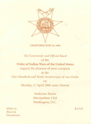 Reflections order of the indian wars of the united states formal invitation to the 2006 annual meeting and banquet stopboris Image collections